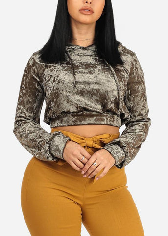 Image of Olive Cropped Velvet Sweater