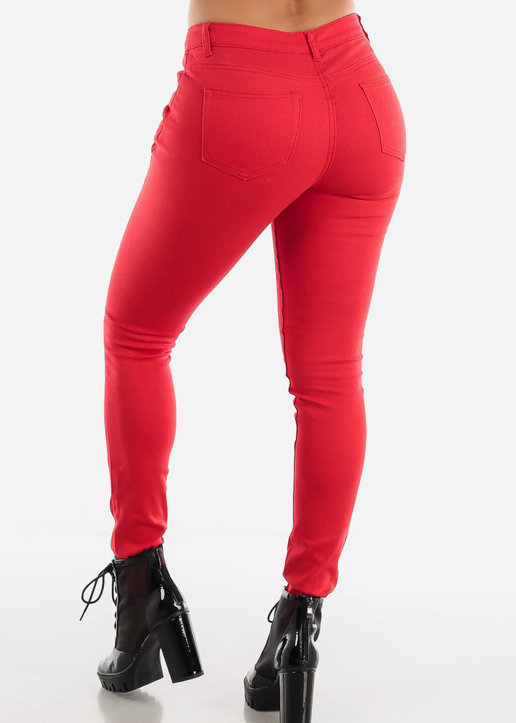 Red Classic Mid Rise Pants