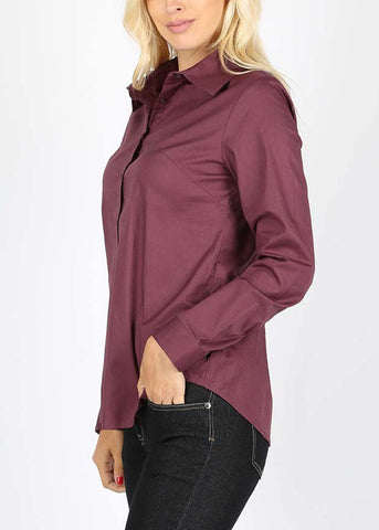 Missy Fit Button Up Plum Shirt