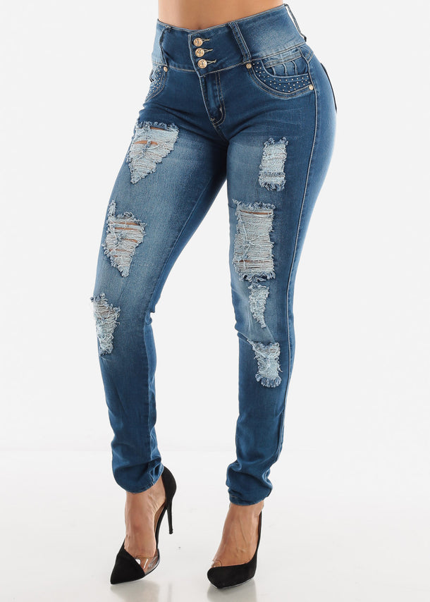 Butt Lifting Ripped Embroidered Jeans