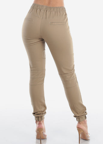 Women's Junior Ladies Mid Rise Moto Design Style Khaki Jogger Pants