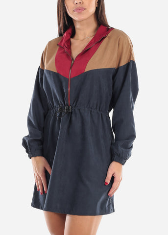 Image of Colorblock Half Zip Up Dress