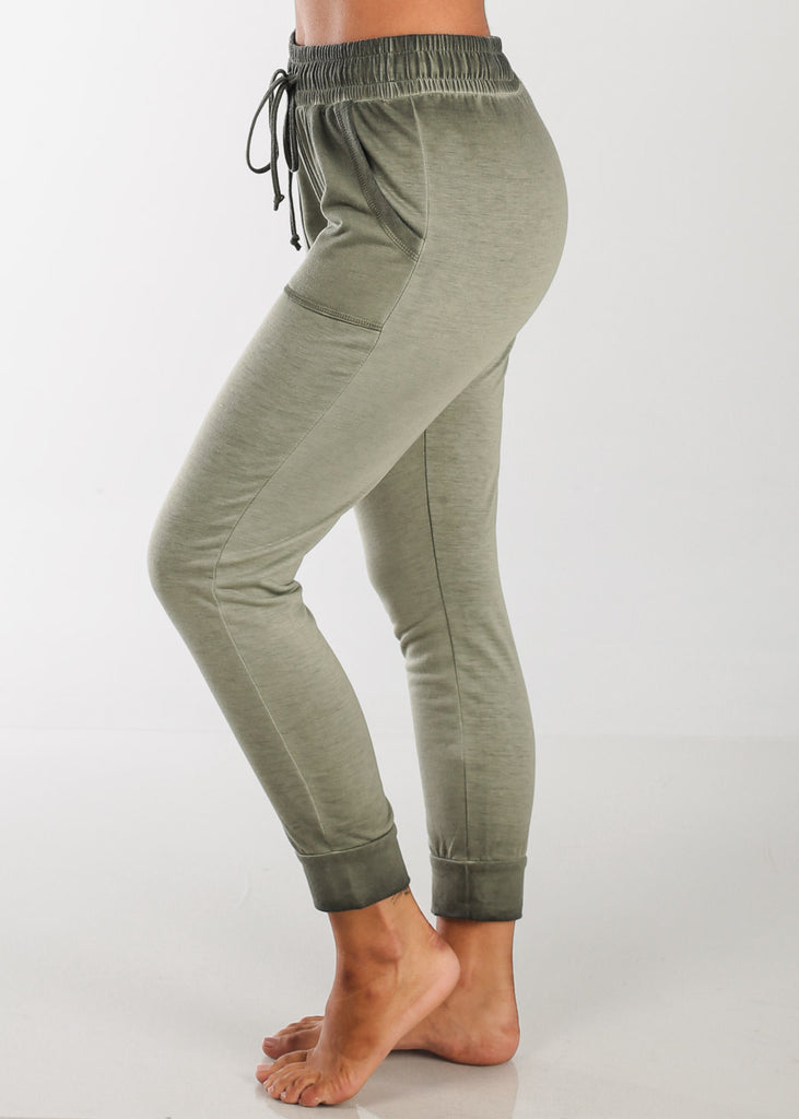 Olive Ankle Jogger Pants