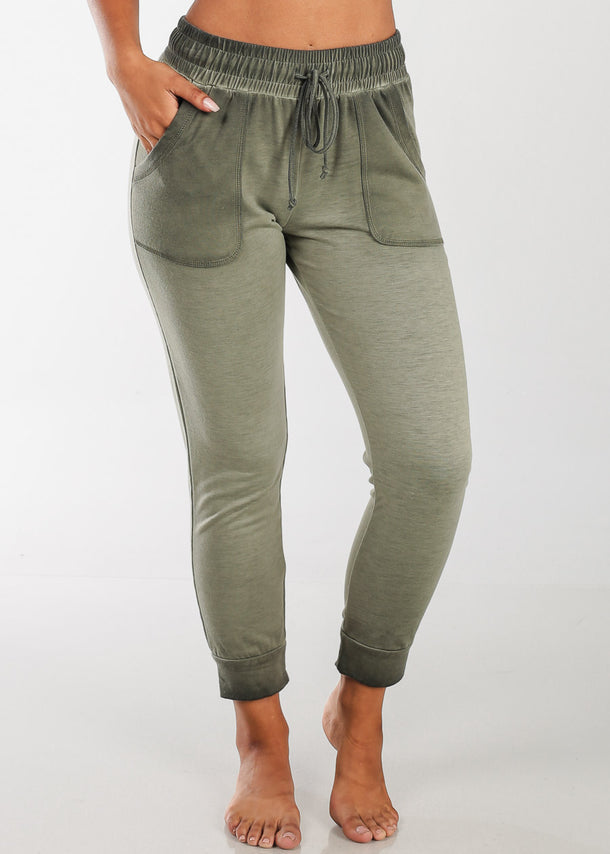 Cheap Olive Ankle Jogger Pants