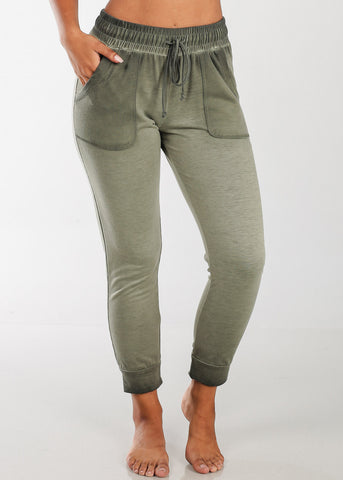 Image of Cheap Olive Ankle Jogger Pants