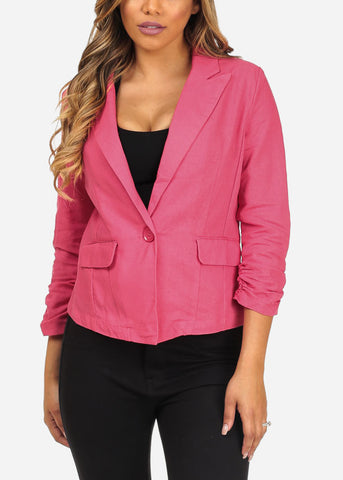 Career Wear Long Ruched Sleeve Rose One Button 2-Pocket Blazer