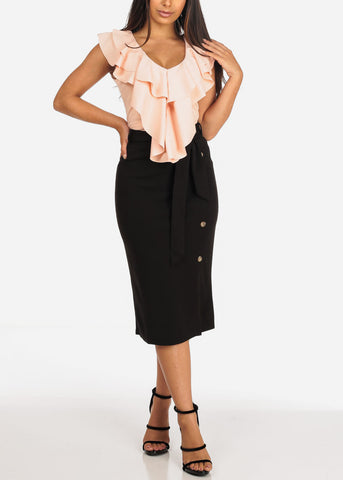 Image of Women's Junior Ladies Dressy Office Business Career Wear Black Skirt With Front Button Detail And Tie Belt