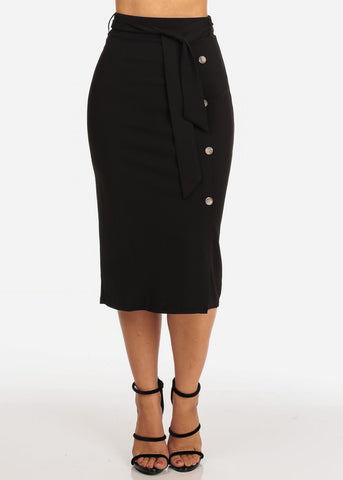Women's Junior Ladies Dressy Office Business Career Wear Black Skirt With Front Button Detail And Tie Belt