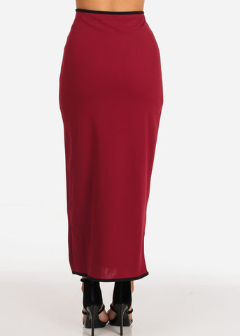 Women's Junior Ladies Stylish Dressy Gold Button Detail Burgundy Maxi Skirt