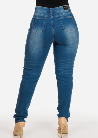 Image of Women's Stylish Curvy Super Stretchy Body Sculpting Plus Size Med Wash Skinny Jeans