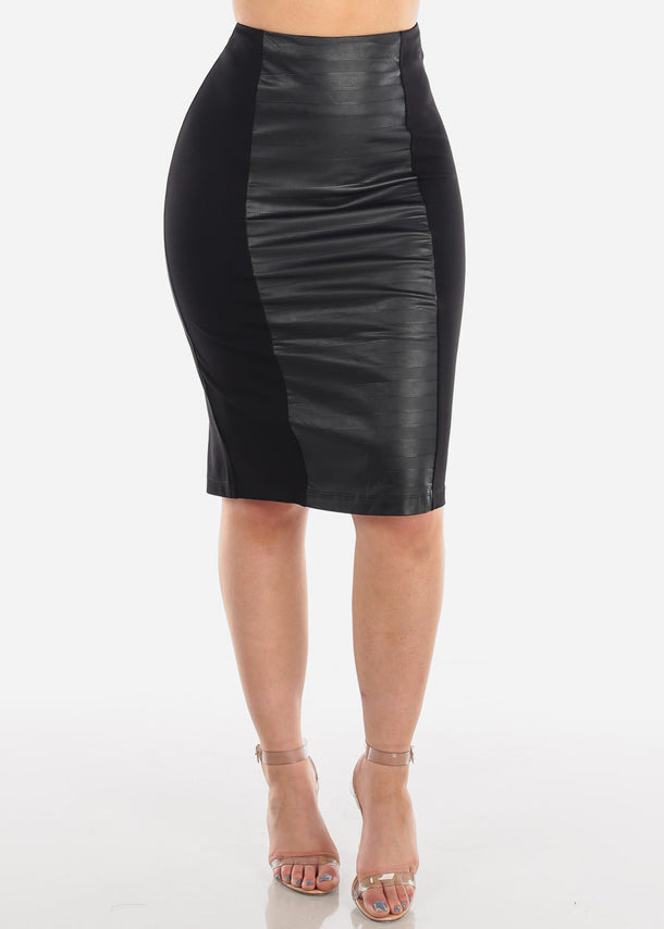 Sexy Solid Black Partial Faux Leather Stretchy Skirt For Women Ladies Junior Night Out Clubwear Party