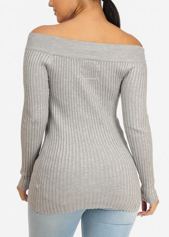 Ribbed Knitted Grey Top