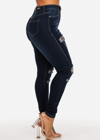 Dark High Waisted Skinny Jeans
