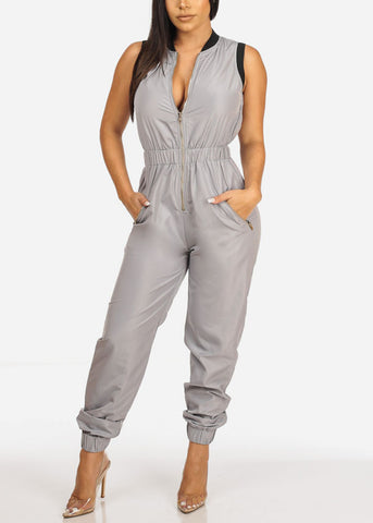 Grey Sleeveless 2-Pocket Jumpsuit