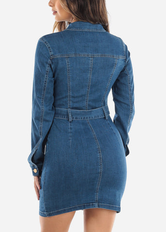 Button Up Med Wash Denim Mini Dress