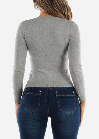 Image of Long Sleeve Grey Pullover Sweater