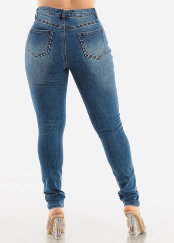 Medium Blue Distressed Jeans