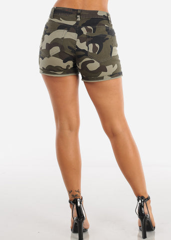 Image of Cute Sexy Mid Rise Camouflage Print Denim Short For Women Ladies Junior On Sale