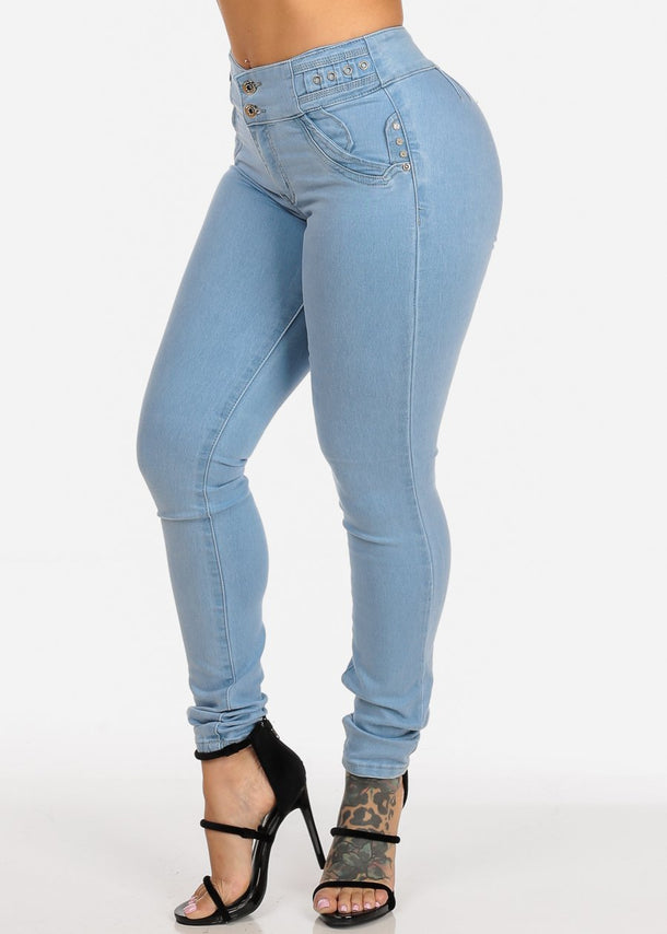 Light Wash Mid Rise Butt Lifting  Levanta Cola Skinny Jeans
