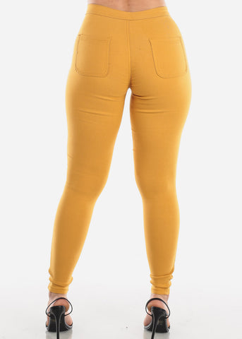 Image of High Rise Mustard Jegging Skinny Pants