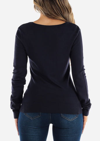 Image of Long Sleeve Navy Pullover Sweater