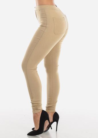 Image of High Rise Stretchy Skinny Khaki Pants