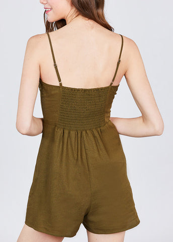 Image of Side Button Detail Olive Linen Romper