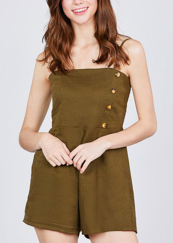 Side Button Detail Olive Linen Romper