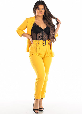 Image of 3/4 Sleeve Open Front Yellow Blazer