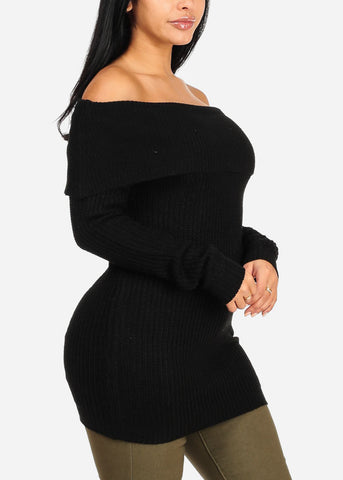 Cowl Neckline Black Knitted Sweater