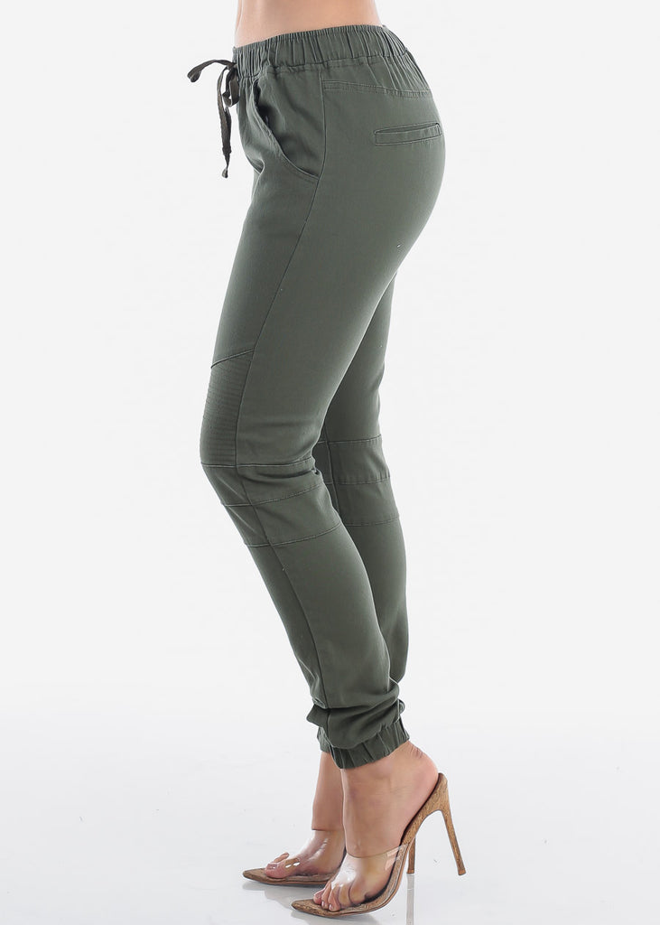 Women's Junior Ladies Mid Rise Moto Design Style Olive Jogger Pants