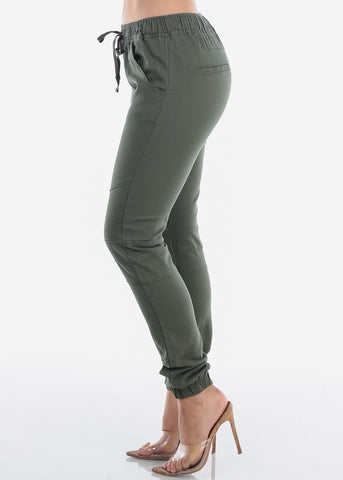 Image of Women's Junior Ladies Mid Rise Moto Design Style Olive Jogger Pants
