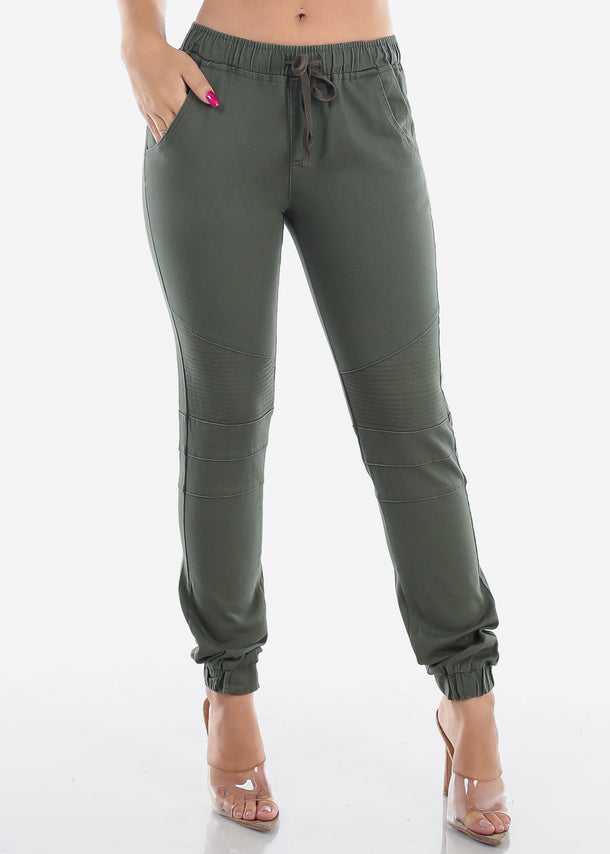 Cheap Olive Moto Style Joggers Pants