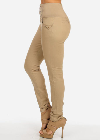 Image of High Waisted Elastic Band Pants (Khaki)