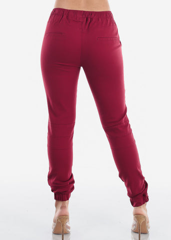 Women's Junior Ladies Mid Rise Moto Design Style Burgundy Jogger Pants