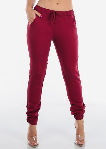 Burgundy Moto Style Joggers Pants