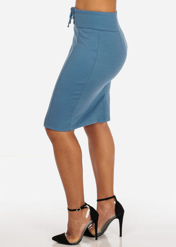Image of Women's Sexy Office Business Wear Clubwear High Waisted Lace Up Detail Stretchy Pencil Midi Blue Skirt