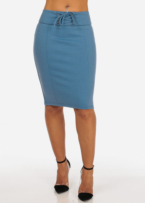 Women's Sexy Office Business Wear Clubwear High Waisted Lace Up Detail Stretchy Pencil Midi Blue Skirt