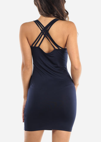 Navy Criss Cross Back Dress