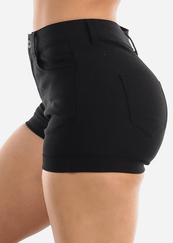 High Waisted Solid Black Shorts