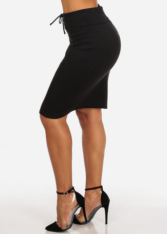 Image of Women's Sexy Office Business Wear Clubwear High Waisted Lace Up Detail Stretchy Pencil Midi Black Skirt