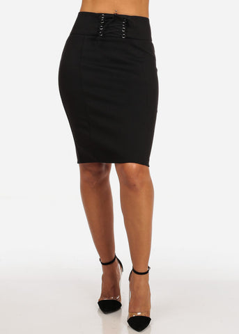 Women's Sexy Office Business Wear Clubwear High Waisted Lace Up Detail Stretchy Pencil Midi Black Skirt