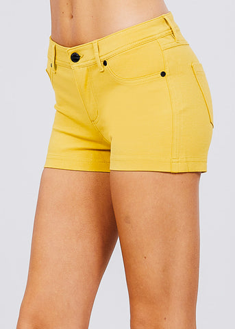 Image of Yellow Mid Rise Stretchy Shorts
