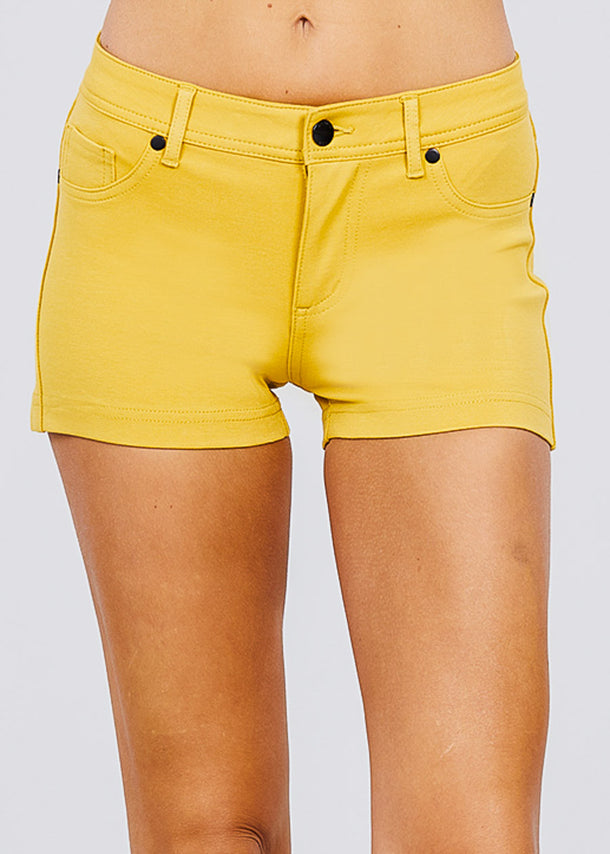 Yellow Mid Rise Stretchy Shorts