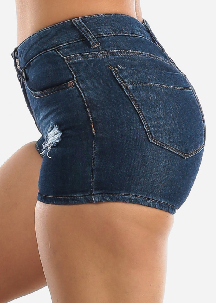 Mid Rise Distressed Style Denim Shorts
