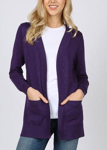 Open Front Plum Cardigan sweater