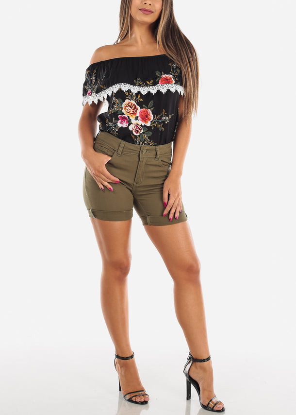 Mid Rise Olive Denim Shorts