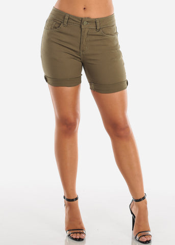 Image of Sexy Cute Solid Olive Mid Waist Stretchy Denim Shorts For Women Ladies Summer Vacation 2019 New On Sale