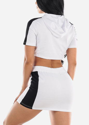 Image of White Crop Top & Mini Skirt (2 PCE SET)