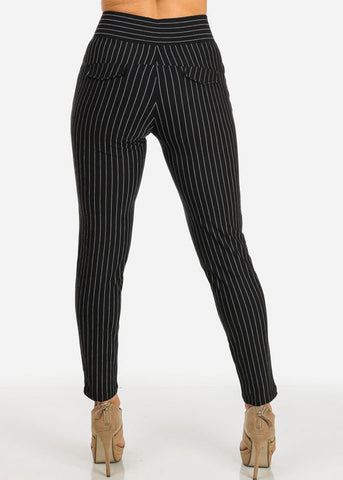 Black High Waist Pinstripe Pants